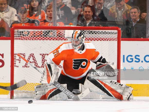 Carter Hart of the Philadelphia Flyers tends net against the Nashville Predators at the Wells Fargo Center on December 20 2018 in Philadelphia...