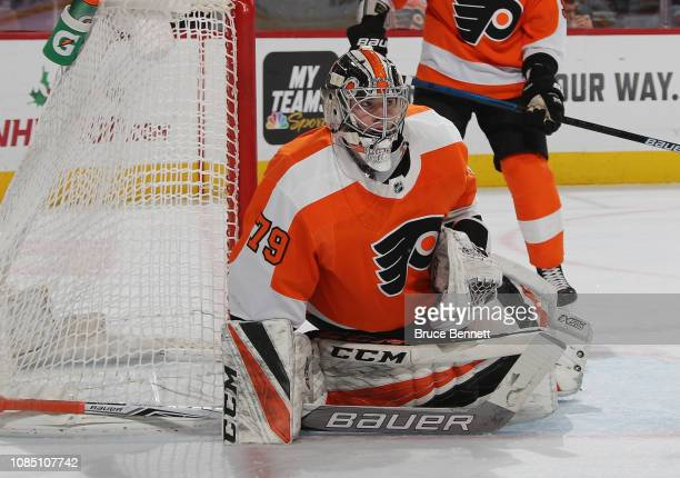 Carter Hart of the Philadelphia Flyers tends net against the Nashville Predators during the first period at the Wells Fargo Center on December 20...