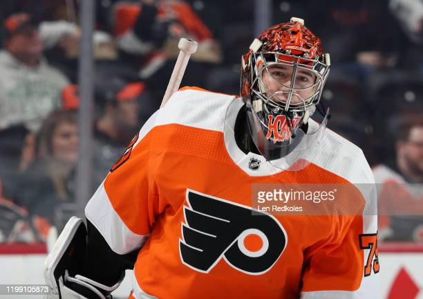 Carter Hart of the Philadelphia Flyers warms up against the Washington Capitals on January 8 2020 at the Wells Fargo Center in Philadelphia...