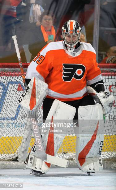 Carter Hart of the Philadelphia Flyers warms up against the Los Angeles Kings on February 7 2019 at the Wells Fargo Center in Philadelphia...