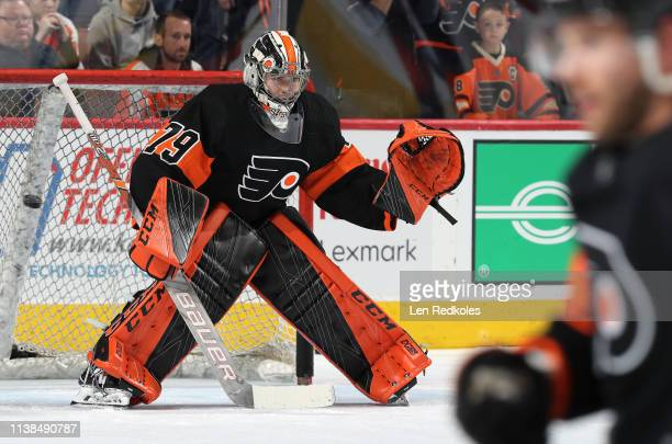 Carter Hart of the Philadelphia Flyers warms up against the New York Islanders on March 23 2019 at the Wells Fargo Center in Philadelphia Pennsylvania