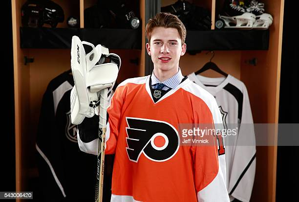 Carter Hart poses for a portrait after being selected 48th overall by the Philadelphia Flyers during the 2016 NHL Draft at First Niagara Center on...