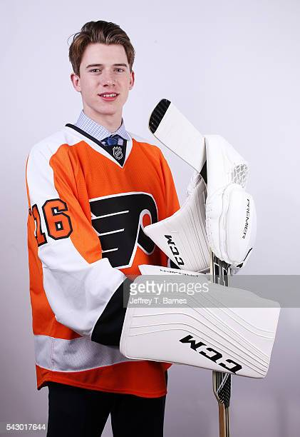 Carter Hart poses for a portrait after being selected 48th overall by the Philidelphia Flyers during the 2016 NHL Draft on June 25 2016 in Buffalo...