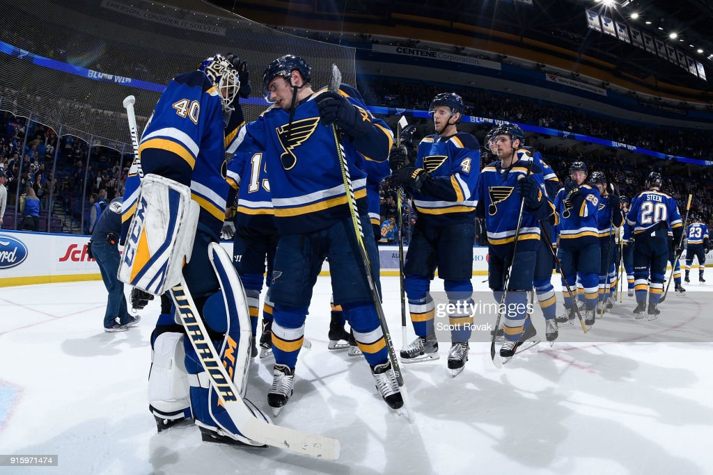 Carter Hutton #40 of the St. Louis Blues and Ivan Barbashev #49 of the St. Louis Blues celebrate their victory over the Colorado Avalanche at Scottrade Center on February 8, 2018 in St. Louis, Missouri.