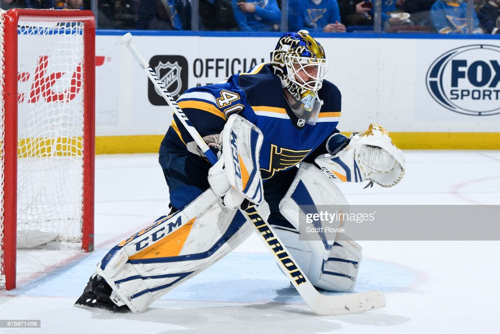 Carter Hutton #40 of the St. Louis Blues keeps an eye on the puck during the game against the Colorado Avalanche at Scottrade Center on February 8, 2018 in St. Louis, Missouri.