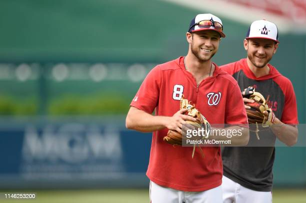 Carter Kieboom and Trea Turner of the Washington Nationals warm up during batting practice before a game against the St Louis Cardinals at Nationals...