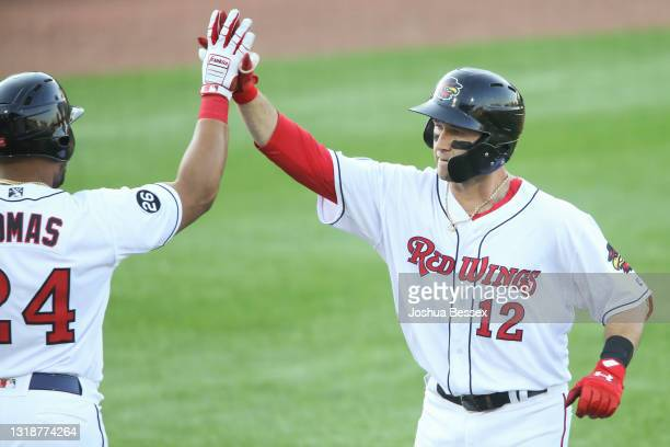 Carter Kieboom of the Rochester Red Wings celebrates a home run in the first inning against the Scranton/Wilkes-Barre RailRiders at Frontier Field on...