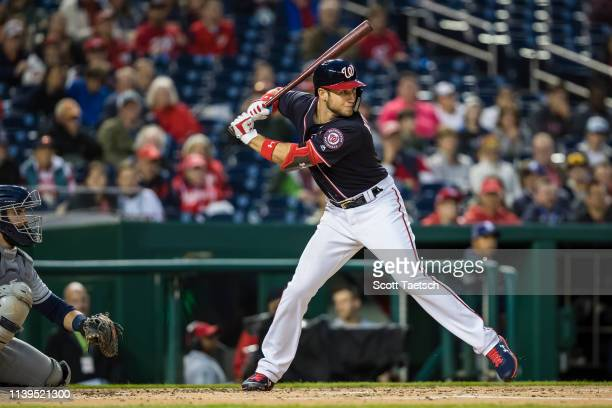 Carter Kieboom of the Washington Nationals at bat during the third inning of his major league debut at Nationals Park on April 26 2019 in Washington...