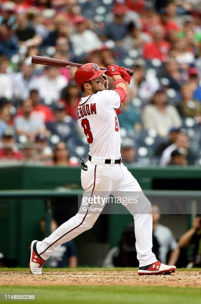 Carter Kieboom of the Washington Nationals bats against the San Diego Padres at Nationals Park on April 28 2019 in Washington DC