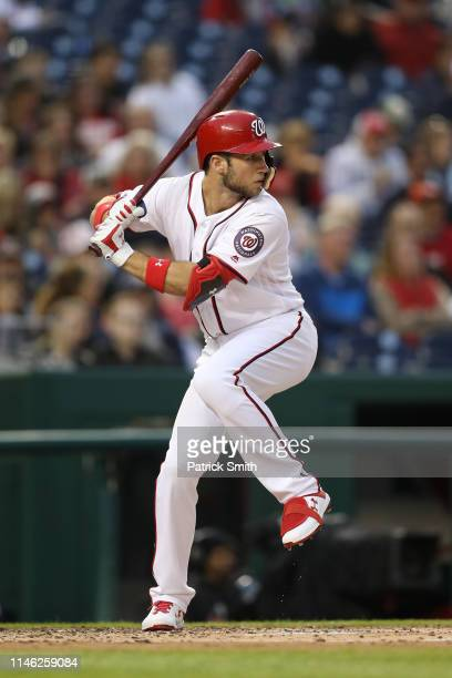 Carter Kieboom of the Washington Nationals bats against the St Louis Cardinals at Nationals Park on April 29 2019 in Washington DC