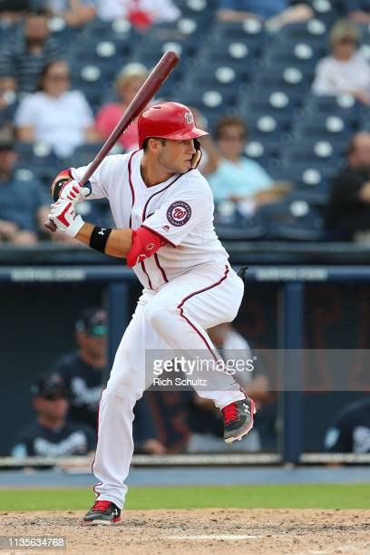 Carter Kieboom of the Washington Nationals bats during a spring training baseball game against the Atlanta Braves at Fitteam Ballpark of the Palm...