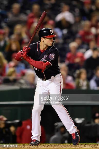 Carter Kieboom of the Washington Nationals bats in the eighth inning against the St Louis Cardinals at Nationals Park on May 1 2019 in Washington DC