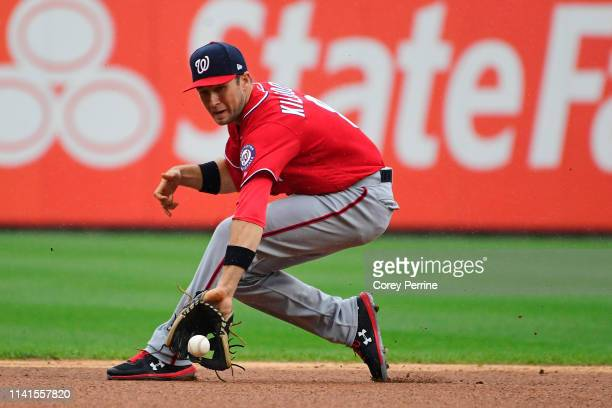 Carter Kieboom of the Washington Nationals fields a hit during the first inning at Citizens Bank Park on May 5 2019 in Philadelphia Pennsylvania The...