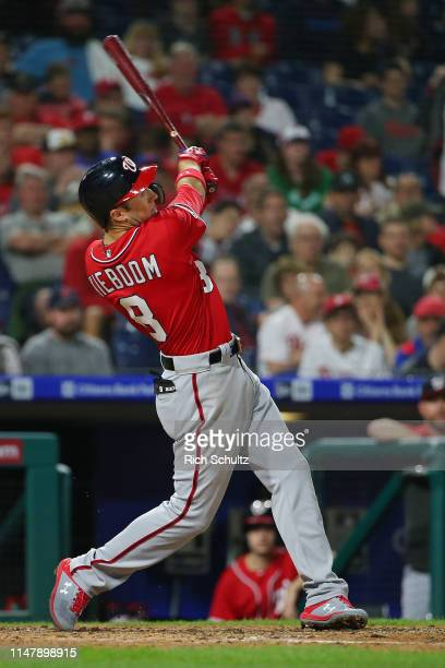 Carter Kieboom of the Washington Nationals in action against the Philadelphia Phillies during a game at Citizens Bank Park on May 4 2019 in...