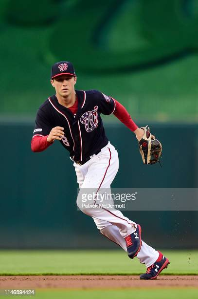 Carter Kieboom of the Washington Nationals in action in the first inning against the St Louis Cardinals at Nationals Park on May 1 2019 in Washington...