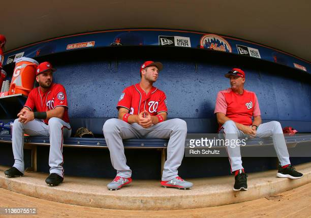 Carter Kieboom of the Washington Nationals in the dugout before a spring training baseball game against the New York Mets at First Data Field on...