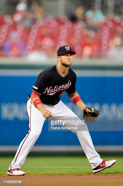 Carter Kieboom of the Washington Nationals plays shortstop in the first inning against the St Louis Cardinals at Nationals Park on April 30 2019 in...