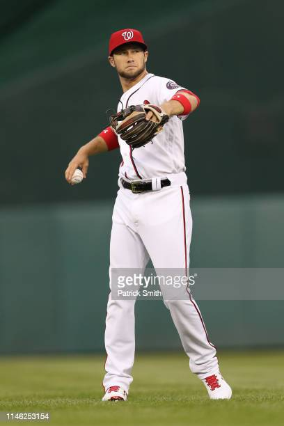 Carter Kieboom of the Washington Nationals throws as he warms up before playing against the St Louis Cardinals at Nationals Park on April 29 2019 in...