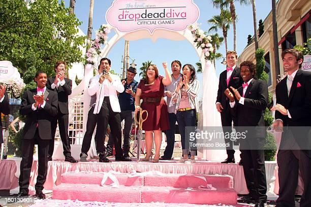 "Carter MacIntyre, Jackson Hurst, Brooke Elliott, Lex Medlin, and Margaret Cho attend the ""Drop Dead Diva"" - official games wedding-themed obstacle..."