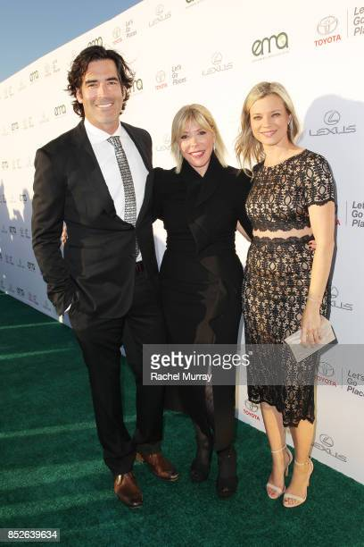 Carter Oosterhouse EMA president Debbie Levin and Amy Smart at the Environmental Media Association's 27th Annual EMA Awards at Barkar Hangar on...