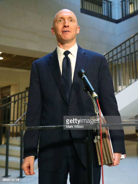 Carter Page former foreign policy adviser for the Trump campaign speaks to the media after testifying before the House Intelligence Committee on...