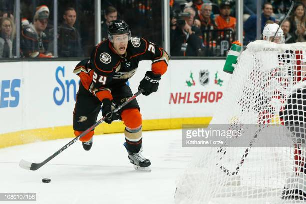 Carter Rowney of the Anaheim Ducks looks for an opening against the New Jersey Devils at Honda Center on December 09 2018 in Anaheim California