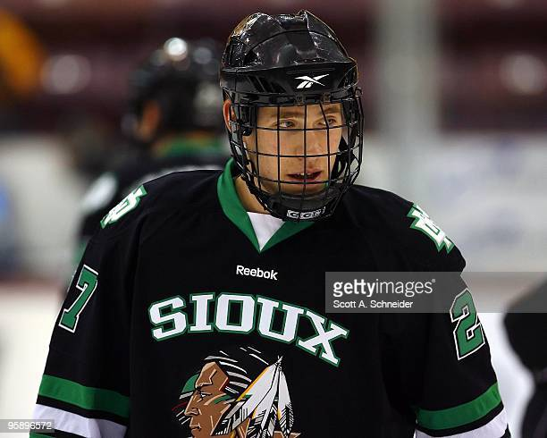 Carter Rowney of the North Dakota Fighting Sioux warms up before a game with the Minnesota Gophers on January 15 2010 at Mariucci Arena in...