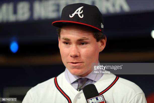 Carter Stewart who selected eighth overall in the 2018 MLB Draft by the Atlanta Braves talks with MLB Network host Alexa Datt during the 2018 Major...
