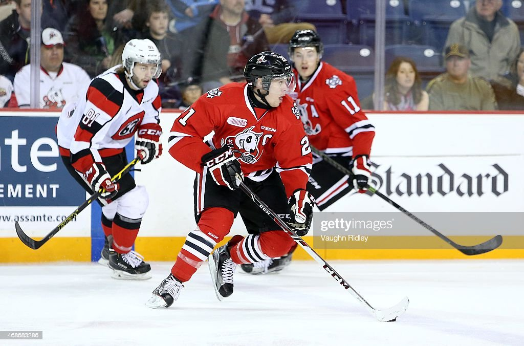 Carter Verhaeghe #21 of the Niagara IceDogs skates during Game 6 of the Eastern Conference Quarter-Finals against the Ottawa 67's at the Meridian Centre on April 5, 2015 in St Catharines, Ontario, Canada.