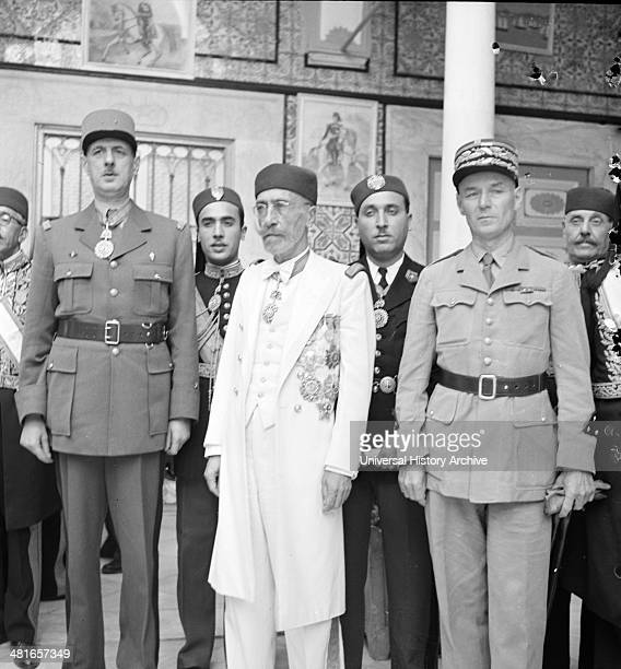Carthage Tunisia General de Gaulle the Bey of Tunis and General Mast in the courtyard of the bey's summer palace in Tunisia in 19430101 doing world...