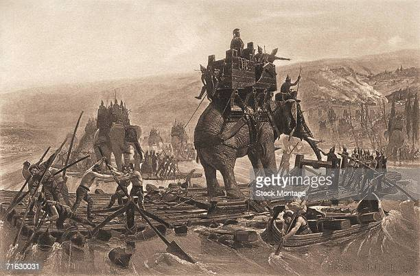 Carthaginian general Hannibal and his army cross the Rhone River with elephants on wooden rafts during the Second Punic War France 218 BC