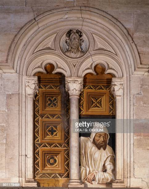 Carthusian monks at the window, 1490-1500, wall painting by Jacopino De Mottis, Certosa di Pavia , Lombardy, Italy, 15th century.