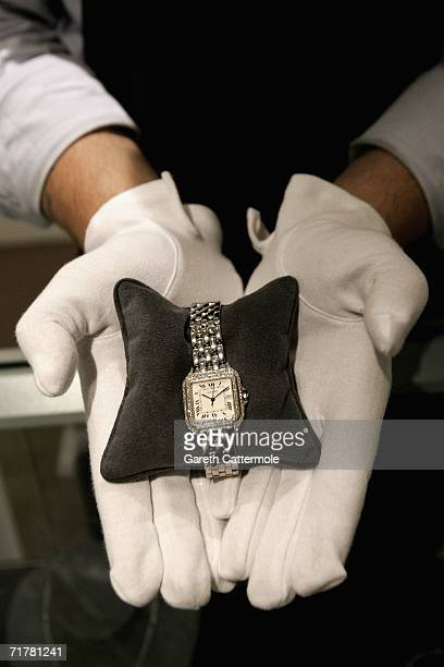Cartier 18K white gold and diamond 'Panthere' wristwatch owned by singer Cher goes on display at Sotherby's on September 2 2006 in London England The...