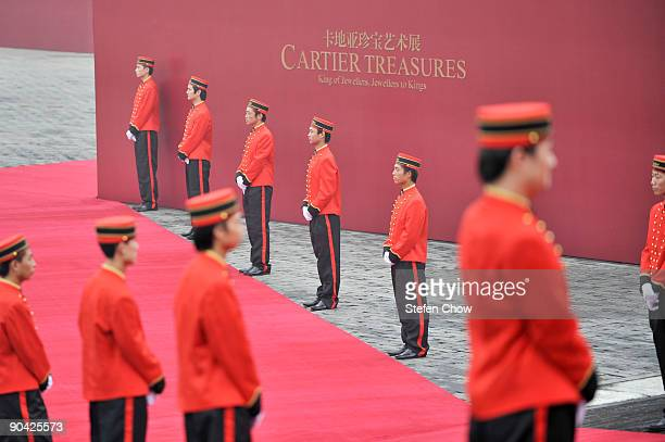 Cartier Boys line up at the opening of the 'Cartier Treasures' exhibition at the Forbidden City September 4 2009 in Beijing China