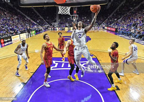 Cartier Diarra of the Kansas State Wildcats drives in for a lay up against the Iowa State Cyclones during the first half at Bramlage Coliseum on...
