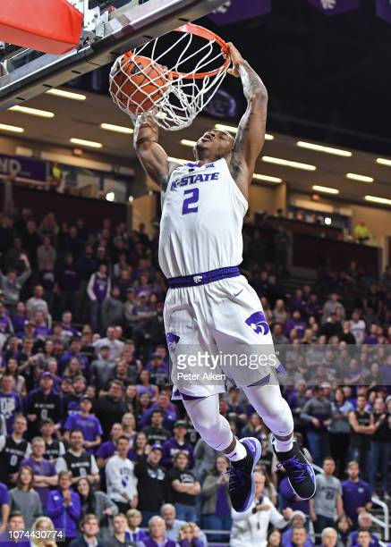 Cartier Diarra of the Kansas State Wildcats drives to the basket for a dunk against the Southern Miss Golden Eagles during the second half on...