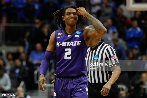 Cartier Diarra of the Kansas State Wildcats reacts late in the second half against the Kentucky Wildcats during the 2018 NCAA Men's Basketball...