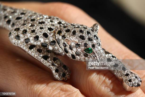 Cartier onyx and diamond panther bracelet from 1952 estimated at £1 000 - £1 00 is displayed at Sotheby's on September 23, 2010 in London, England....