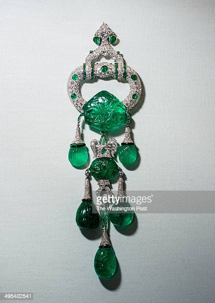 Cartier pendant brooch of diamonds emeralds and platinum Emeralds date to the 17th century and weigh a total of 250 carats Hillwood Estate and Museum...