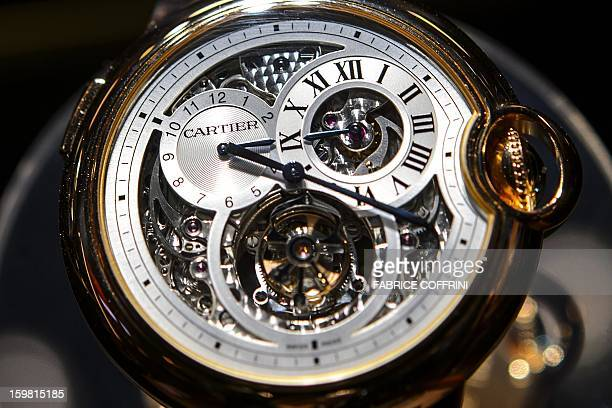 A Cartier watch part of the Swiss luxury goods group Richemont is displayed on the opening day of the Salon International de la Haute Horlogerie a...