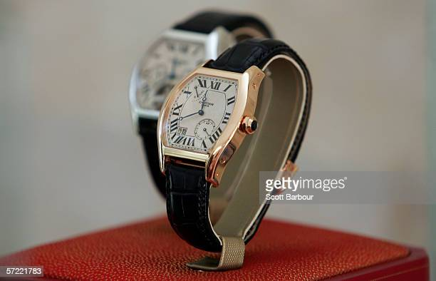 Cartier watch sits on display during the inaugural Cartier International Dubai Polo Challenge at Desert Palm on March 24 2006 in Dubai United Arab...