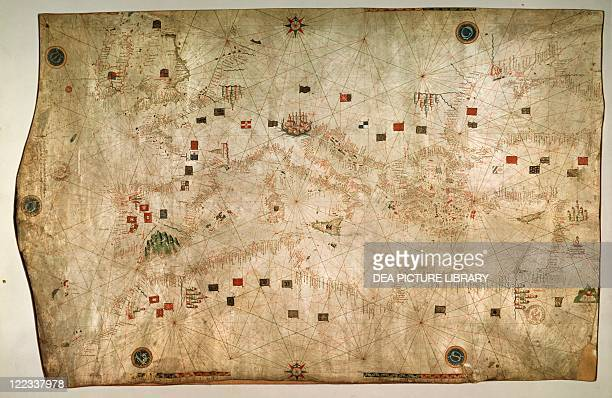 Cartography 11th century Nautical chart of the Mediterranean Sea designed by Francesco Rosselli