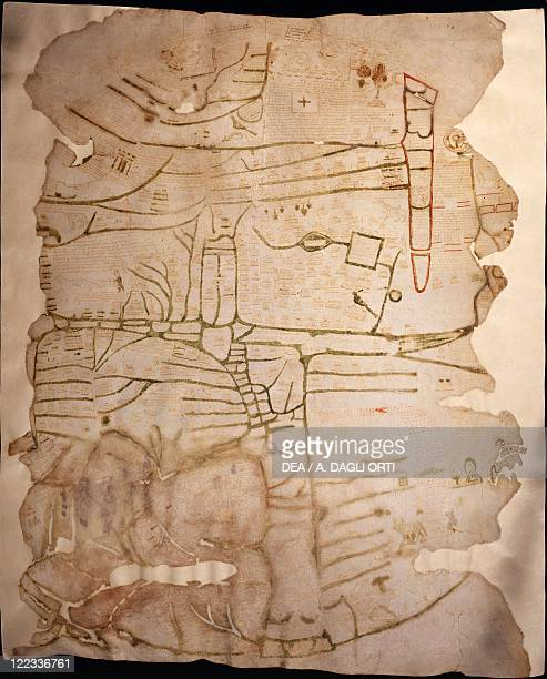 Cartography 12th13th century Mappa Mundi Medieval map of Vercelli Created in England or France 11911218 Ink on parchment 84 x 7072 cm