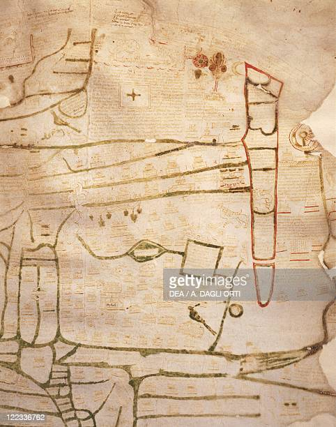 Cartography 12th13th century Mappa Mundi Medieval map of Vercelli Created in England or France 11911218 Ink on parchment 84 x 7072 cm Detail Egypt...