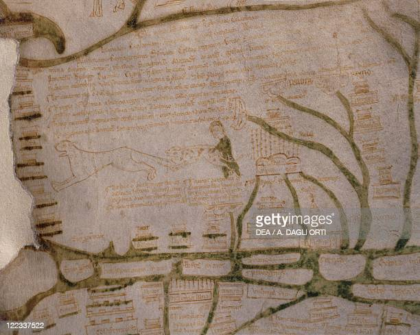 Cartography 12th13th century Mappa Mundi Medieval map of Vercelli Created in England or France 11911218 Detail Syria and Palestine Ink on parchment...