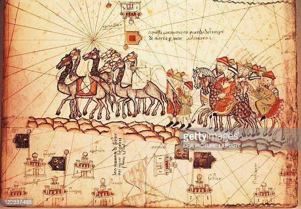 Cartography 14th century Catalan Atlas published for Charles V of France attributed to Abraham and Jafuda Cresques Maiorca Merchants travelling to...