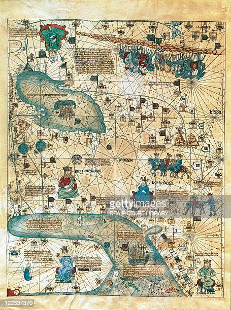 Cartography 14th century Map of Cathay From Catalan Atlas created for Charles V King of France attributed to Abraham and Jafuda Cresques Maiorca Copy...