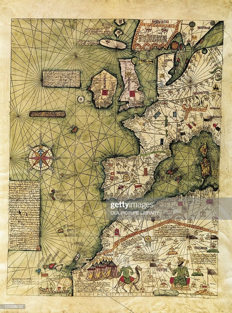 Map of western europe north western africa and atlantic ocean from cartography 14th century map of western europe north western africa and atlantic gumiabroncs Gallery