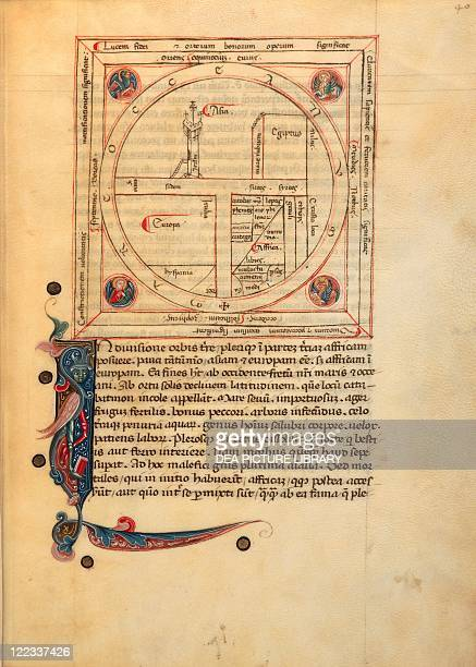 Cartography 14th century Mappa Mundi Medieval world map in De Bello Jugurthino by Sallustio Venice end of 14th century