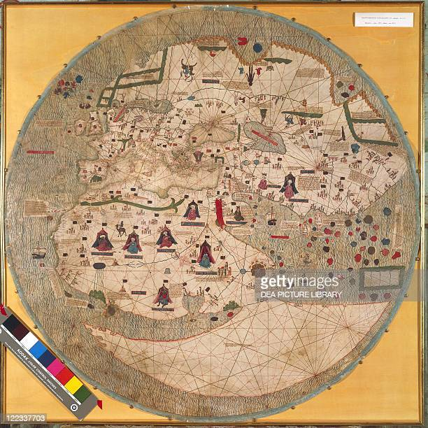 Cartography 15th century Catalan world map around 1450 Parchment
